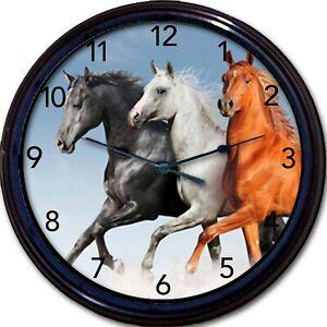 "Galloping Horses Black White Brown Wall Clock Equestrian Jockey Pony Cowboy 10"""