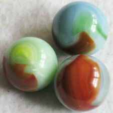 "3 Vitro Agate Marbles Blue Green Oxblood 13/16""-7/8"" Shooter NrMINT to MINT"