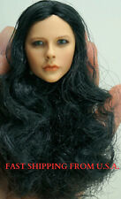 "KUMIK 1/6 Hair Wig 2.5 BLACK CURVE For 12"" Female Head Sculpt ❶USA❶"