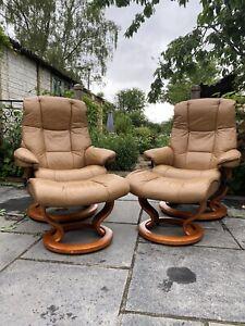 Ekornes Stressless Mayfair Leather Recliner Armchair with Footstool Pair