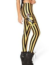 Hufflepuff Stretchy Black Yellow Harry Potter Fan's Quality Woman's Leggings