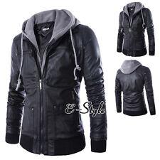 Mens Winter Hooded Jacket Hoodie Coat PU Leather Overcoat Warm Outwear Slim Coat