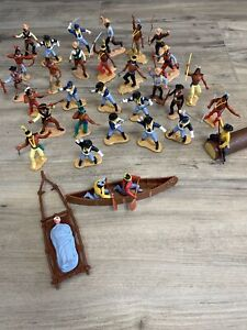 VINTAGE TIMPO TOYS INDIANS SOLDIERS AND MORE CLEAN FIGURE LOT NR