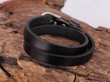 Surfer Plain Cool Double Wrap Men's Leather Bracelet Wristband Cuff Black