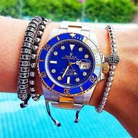 New Styles Mens 18k White Gold Plated Micro Pave CZ Ball Luxury Macrame Bracelet