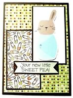 BABY Greeting Card - YOUR NEW SWEET PEA - Handmade A2 size with Envelope