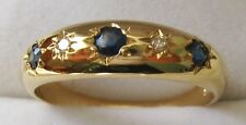 GENUINE SOLID 9K 9ct YELLOW GOLD NATURAL SAPPHIRE & DIAMOND GYPSY RING