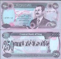 IRAK billet neuf de 250 DINARS Pick85 emis sous SADDAM HUSSEIN IRAQ 1995