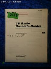 Sony Bedienungsanleitung CFD S20CP Cassette Corder (#2149)
