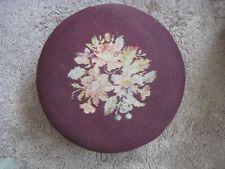 Antique / Vintage Round Needlepoint Footstool Floral Purple
