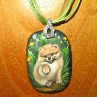 Pomeranian Puppy pendant POM POM DOG Genuine hand painted Natural STONE signed