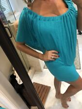 Élan USA - Aqua Green Strapless Ruffled Short Mini Tunic DRESS Large
