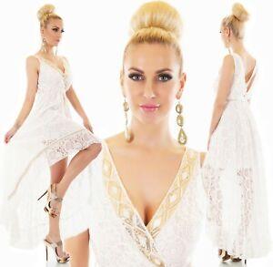 Damen Häkel Kleid Sommer Boho Hippie Ibiza Style High Low Weiß mit Bordüre