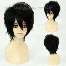 Short Straight Cosplay Hair Wig Women Men Halloween Dress Black White Green Blue