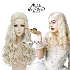 Alice in Wonderland White Queen Light Blonde Long Curly Cosplay Wig + Wig Cap