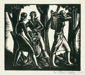 A cool wood engraving by Polish artist Stanislaw Raczynski, The Harvest, 1929