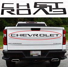Black Raised Plastic Letters Inserts for Chevrolet Silverado 2019 2020 Tailgate