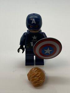 Lego Super Heroes Captain America Dark Blue Suit Minifigure Shield & Hair Inc.