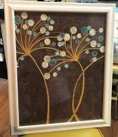 Alan Buckle Eurographics framed print Teal Bubble Flowers mod floral art