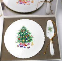 Mikasa Bone China CHRISTMAS SPIRIT Cake Plate & Server Set in Box B2098 Cake Set