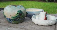 Set 3 Texas Folk Art Meyer Bluebonnet Pottery - Frog Bowl Sombrero Ashtray