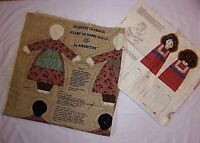 Vtg Doll Fabric Panels Cut Sew Mary Little Lamb AND Katie Hattie Country Hearts