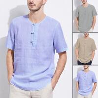 INCERUN Hommes T-shirt à manches courtes d'été lin Chemises hauts décontractées
