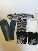 LOT de 6 vêtements fille 14ans tee shirt rock et ange noir et blanc
