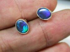 Lightning Ridge solid Black Opal Earrings N2 silver