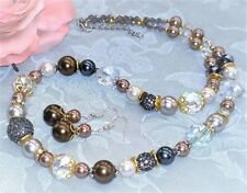 "GORGEOUS! 19"" Glass Pearls Crystal Necklace + Earrings Mocha Brown FREE SHIP"