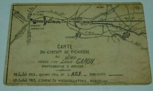 July 1913 Grand Prix Amiens France Car and Motorcycle Race Advertisement Card