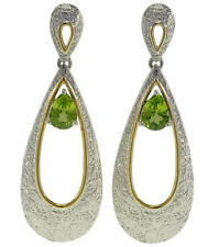 Peridot Gemstone 18ct Yellow Gold Plated and Sterling Silver Dangle Earrings