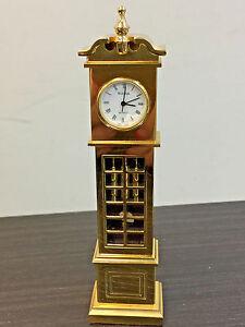 Vintage Bulova Quartz Gold Tone Tall Grandfather Table Shelf Clock