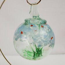 "Large Art Glass Ornament / Hummingbird Feeder, Heavy, Handmade, Green Blue, 6.5"""