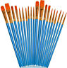 20pcs Paint Brushes Set for Oil Watercolor Canvas Adult/Kid Arts Crafts Supplies