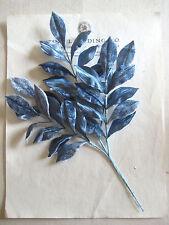 Great Vintage Blue Velvet/Satin Millinery Hat Flower UNUSED  Leaves 3 pcs