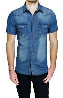 Shirt Denim Jeans Mens Diamond short Sleeved Blue Denim Summer Slim Fit