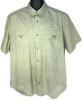 Columbia Men's L Tan Short Sleeve Button Front Shirt Camp Outdoor Fishing Used