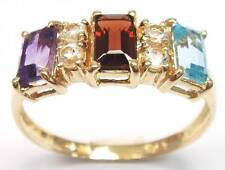 SYJEWELLERY 9CT SOLID YELLOW GOLD NATURAL MULTI-GEMSTONES RING    R1119