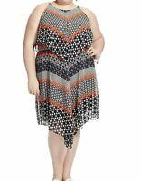Taylor Dresses Sleeveless Chiffon Popover Dress In Geo Print Size 12