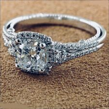 2.0Ct Cushion Cut Diamond Solitaire Engagement Wedding Ring 14K White Gold Over