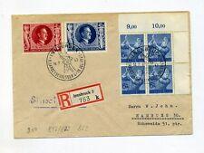 1943 3. Reich Ostmark R-Brief 54. Geb.tag Hitler Mi 846, 847, VB RAD Mi 852 (4x)