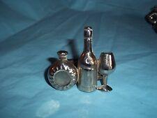 Napkin Rings, Wine Bottle & Wine Glass & Chianti  Silver Plated Metal, Set Of 10