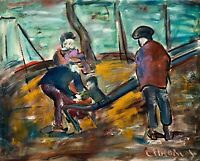 """Original Oil Painting Expressionistic Canvas """"Family Time At The Park"""" 24x30"""