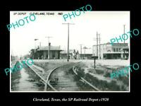 OLD LARGE HISTORIC PHOTO OF CLEVELAND TEXAS, THE RAILROAD DEPOT STATION c1920
