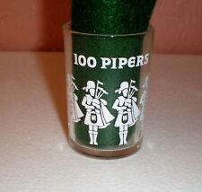 "100 Pipers Scotch Wiskey Shot Glass ""White Bagpipers Logo"""