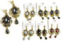 Gold-Tone Faceted Teardrop Multi Rhinestone Dangle Drop Post Earrings-E5718