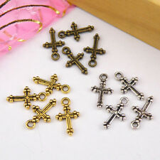 20Pcs Tibetan Silver,Gold,Bronze Tiny Cross Charms Pendants Drops DIY M1126