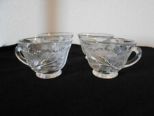 EMBOSSED LEAVES CLEAR GLASS 4 OZ COFFEE TEA ESPRESSO CUP VERY NICE! FREE SHIP!