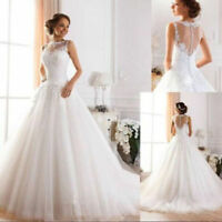 White Ivory A-Line Wedding Dresses Bridal Gowns Custom Size 2 4 6 8 10 12 14 16